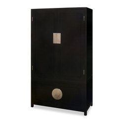 China Furniture and Arts - Elmwood Qing Design Cabinet - Distinct in its simple clean lines, this handsome tall cabinet is a fine example of Ming furniture style. It has three removable shelves, one hanging rod for the top cabinet and one removable shelf for the lower cabinet for your storage convenience. Completely hand made of Elmwood long lasting durability. Hand applied black ebony finish with hand forged brass plates accent the center of the cabinet. It is perfect to use as TV cabinet (cable outlets can be made upon request), bookcase or armoire for bedroom. Fully assembled.