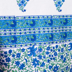 Attiser - Country Table Linens - Southern Nights table cover, a French Country style linen of classic cobalt blue and engaging emerald green on pure white. Hand Block Printed from Attiser