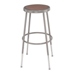 National Public Seating - National Public Seating 31-39 Inch Gray Frame Stool Hardboard Seat w/ ADJ Height - These heavy duty steel stools with grey frames are made of 7/8 inch o.d. , 18-gauge steel tubing with adjustable height. The seat is a full 14 inch diameter with an 11 1/2 inch diameter Masonite board recessed into the seat pan and will not chip or crack. 5/8 inch o.d. Footrings are welded to each leg, with 4 contact points at each leg for added rigidity. The adjustable height models feature chrome plated inserts and tilt swivel glides.