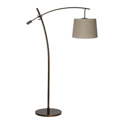 "Lamps Plus - Contemporary Tara Taupe Pleated Shade Balance Arm Arc Floor Lamp - The Tara arc floor lamp features an adjustable balance arm that allows you to position the lamp for reading or other tasks. The design comes in a warm tiger bronze finish and has an on/off floor switch for easy lighting control. At the end of the boom arm is an on-trend designer Taupe fabric shade with wave pleats for a burst of style. Adjustable balance arm floor lamp. Tiger bronze finish. Taupe fabric hardback shade with wave pleats. Maximum 100 watt or equivalent bulb (not included). On/off floor switch. 69"" max height. 63"" to top of center post. 41"" long arm. 32"" arm extension from center post. Shade is 12"" across the top 14"" across the bottom 10"" high. 16"" wide base.  Adjustable balance arm floor lamp.  Tiger bronze finish.  Taupe fabric hardback shade with wave pleats.  Maximum 100 watt or equivalent bulb (not included).  On/off floor switch.  69"" max height.  63"" to top of center post.  41"" long arm.  32"" arm extension from center post.  Shade is 12"" across the top 14"" across the bottom 10"" high.  16"" wide base."