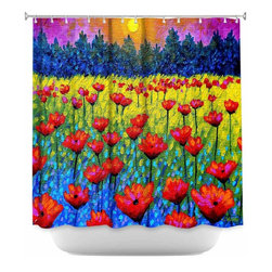 DiaNoche Designs - Shower Curtain Artistic - Twilight Poppies - DiaNoche Designs works with artists from around the world to bring unique, artistic products to decorate all aspects of your home.  Our designer Shower Curtains will be the talk of every guest to visit your bathroom!  Our Shower Curtains have Sewn reinforced holes for curtain rings, Shower Curtain Rings Not Included.  Dye Sublimation printing adheres the ink to the material for long life and durability. Machine Wash upon arrival for maximum softness. Made in USA.  Shower Curtain Rings Not Included.
