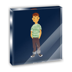 """Made on Terra - Little Boy Cartoon Mini Desk Plaque and Paperweight - You glance over at your miniature acrylic plaque and your spirits are instantly lifted. It's just too cute! From it's petite size to the unique design, it's the perfect punctuation for your shelf or desk, depending on where you want to place it at that moment. At this moment, it's standing up on its own, but you know it also looks great flat on a desk as a paper weight. Choose from Made on Terra's many wonderful acrylic decorations. Measures approximately 4"""" width x 4"""" in length x 1/2"""" in depth. Made of acrylic. Artwork is printed on the back for a cool effect. Self-standing."""