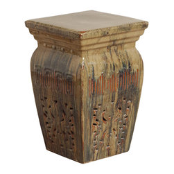 Kathy Kuo Home - Toffee Southwestern Red Beige Brown Pierced Ceramic Garden Stool Seat - Traditionally used in China as tea tables- these garden stools make a perfect addition to your living space as side tables, or clustered together to be used as a coffee table.  Glazes are triple fired for added luster and shine.  With a hand made product, glaze variations of up to 10% is to be expected.