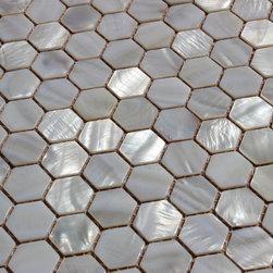 """MATS - """"Whistling Oyster"""" Mother Of Pearl White Shell Mosaic Backsplash Tile - Italian 1st Quality Designer Shell Mosaics"""