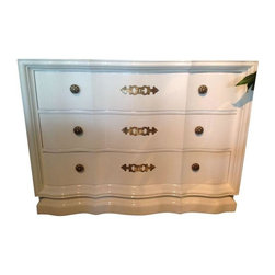 Used Vintage Drexel Lacquered Chests - A Pair - Gloss and gold goodness! A beautiful pair of Drexel chests with a fresh white lacquer finish. The graceful serpentine lines and antique brass hardware really make these chests stand out. A dresser, dining room buffet, or media console - whatever you decide it's sure to be glam!
