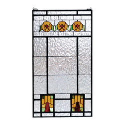 "Meyda Tiffany - 18""W X 32""H Aurora Dogwood Stained Glass Window - Arts and Crafts inspired Dogwood trees and flowers of Bark Brown, Amber Honey and Woodland Green accent the Clear Flemish textured glass window. This handsome American style Meyda Tiffany window is made from 106pieces of hand cut stained glass and handcrafted utilizing the copper foil construction process. The window also comes with a solid brass hanging chain and brackets."
