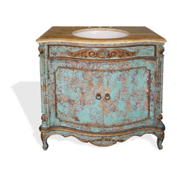 Vanities - This vanity is highly decorative with an elaborate hand painted design, subtle detailed carvings, and decorative architectural design. You can see more of our elaborate furniture online at www.KoenigCollection.com