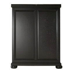 """Crosley Furniture - Alexandria Bar Cabinet in Black - Beautiful Raised Panel Doors. Brushed Nickel Hardware. Plenty of Room for Storing Barware & Spirits. Doubles as a Serving Station when Entertaining. Adjustable Levelers in Legs. Expands to 62 1/2"""" Wide when Open. Solid Hardwood & Veneer Construction. Front & back of bar have matching finish. 42in. H x 31.25in. W x 22in. D (150 lbs)Constructed of solid hardwood and wood veneers, this Expandable Bar Cabinet is designed for longevity. The beautiful raised panel doors provide the ultimate in style to dress up your home. The doors open and top folds out to double the size of your entertaining / serving area. Inside the doors, you will find plentiful storage space for spirits, glassware, and a host of other bar items. The center cabinet features 16 bottle wine storage, utility drawer, hanging stemware storage, and extra space for a variety of other barware."""