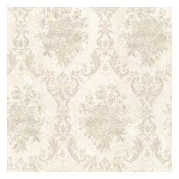 Dutchess Platinum Floral Damask Wallpaper Bolt - Like a formal renaissance fabric this beautiful silk damask wallpaper creates a regal look. Pearlescent taupe.