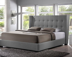 Baxton Studio - Baxton Studio Favela Gray Linen Modern Bed with Upholstered Headboard - Wooden and metal bed frames are things of the past update your bedroom with the stylish Favela Upholstered Bed. The queen-sized headboard, slats, and footboard are foam-padded, button-tufted, and upholstered in a beautiful, versatile gray linen blend. Made in Malaysia with a wooden frame and black wood feet, sound construction is not left by the wayside. The Favela is a platform bed, so does not require a box spring: wooden slats (included) serve the same purpose. Only a mattress and bed linens (not included) are required. In the event cleaning is necessary, spot cleaning is advised.