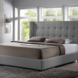 "Baxton Studio - Baxton Studio Favela Gray Linen Modern Bed with Upholstered Headboard - Queen Si - Wooden and metal bed frames are things of the past ��� update your bedroom with the stylish,ela Upholstered Bed. The queen-sized headboard, slats, and footboard are foam-padded, button-tufted, and upholstered in a beautiful, versatile gray linen blend. Made in Malaysia with a wooden frame and black wood feet, sound construction is not left by the wayside.  The Favela is a platform bed, so does not require a box spring: wooden slats (included) serve the same purpose. Only a mattress and bed linens (not included) are required. In the event cleaning is necessary, spot cleaning is advised.66.5""W x 91""D x 52.75""H , footboard height: 12.5"", side rail: 12.5"", height to top of slat: 11"", height of legs: 2.5"""