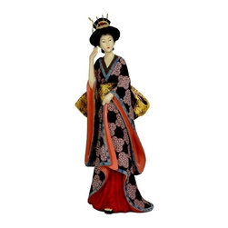 "Oriental Unlimited - 14 in. Tall Geisha Figurine w Ivory Flower Sa - A wonderful, colorful reproduction of a carved Japanese Geisha statue. With the classic ""shimada"" hair style, exotic hair pins and comb. Her kimono is a beautifully rendered hand painted black and lavender pattern, with a lovely contrasting lining and floral sash. Beautiful hand painted kimono with distinctive floral ""obi"". Great decorative curio as well as an intriguing, distinctive gift. Fine quality solid cast resin. 4.5 in. W x 4.5 in. D x 14 in. HGeisha statues were carved from wood, fish bone or ivory, some elaborately painted and inscribed. Our reproduction solid resin designs capture much of the same refined, elegant detail, a striking decorative accent for home or office. Remarkably affordable, they're stunning displayed in pairs; and consider another for the discerning lady on your gift list."