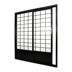 Oriental Unlimited - Double-Sided Zen Shoji Sliding Door Kit (Natu - Finish: NaturalIncludes sliding doors, top and bottom tracks and right and left door jambs. Shade is tough. Hard fiber rice paper, difficult to puncture that allows diffused light. Provides complete privacy. Designed for constant use. Easy to install, like a pre-hung door kit from the lumberyard. Top quality at an unbeatable price. Crafted from durable, lightweight and beautifully finished Spruce. Constructed using east Asian style mortise and tenon joinery. Finished frame with intricate lattice design on both sides. Overall: 73.5 in. W x 3.5 in. D x 83 in. H. Tracks and jambs: approximately 3.5 in. W x 1.75 in. H. Each door: approximately 36 in. L x 1 in. W x 80 in. H. NOTE: If you prefer no bottom track, install sliding door hardware (top mounted) from your local hardware retailer