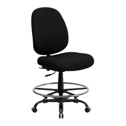 Flash Furniture - Flash Furniture Hercules Drafting Stool with Extra Wide Seat in Black - Flash Furniture - Drafting Chairs - WL715MGBKDGG - This drafting chair has been tested to hold up to 400 lbs.! Not only will this chair hold the above average person but it is amazingly comfortable. Chair will appeal for users of all heights and weights because of its comfort and sturdy construction.