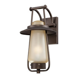 Designers Fountain - Designers Fountain Stonyridge Transitional Outdoor Wall Sconce - From the Stonyridge Collection, this Designers Fountain outdoor wall sconce features a traditional lantern shape that has been blended with warm finishes. The tea stained glass shade is sure to give off a warm glow in any outdoor space while a warm Flemish Bronze finish pulls the look together.