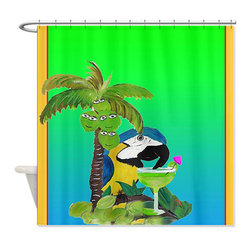 usa - Parrot Margarita Shower Curtain - Beautiful shower curtains created from my original art work. Each curtain is made of a thick water resistant polyester fabric. The permanently applied art work appears on the front side with the inside being white. 12 button holes for easy hanging, machine washable and most importantly made in the USA. Shower rod and rings not included. Size is a standard 70''x70''