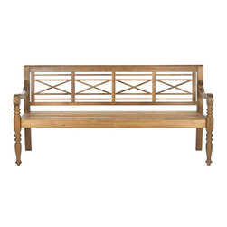 Safavieh - Karoo Bench - A classic garden bench inspired by the cross-hatched lattice pattern found in English Cottages, the romantic Karoo Bench is a welcome addition to porch or patio. Designed with beautiful proportions and artfully turned legs, this future heirloom is crafted of sustainable acacia wood in natural finish and galvanized hardware.