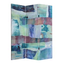 Oriental Furniture - 5 ft. Tall Ocean Dance Canvas Room Divider - A collage of hand painted and printed papers create the experience of a summer ocean and sky dance. Blue, green and rose colors express the mood of a warm summers day.
