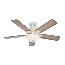 Hunter Matheston 54 in. Indoor/Outdoor Ceiling Fan with Light - The Hunter Matheston 54 in. Indoor/Outdoor Ceiling Fan with Light is a rustic beauty that will cool down and dial up the style of your outdoor living space. This ceiling fan and light kit combo has clean lines, five blades, and comes in select finish options. It offers three speeds and has an easy pull chain so is a breeze to use.About Hunter FanHunter Fan traces its origins back to 1886 when John Hunter and his son, James Hunter, maked the first water-driven celling fan in upstate New York. Today the company blends 19th century craftsmanship with innovative designs and technology to make fans of unmatched quality, style, and performance. Hunter Fans now has offices in three countries and retail outlets around the world. Hunter Fans offers style, comfort, and health for you and your family. Their fans are handcrafted from the finest materials to last a lifetime. Hunter ceiling fans function perfectly and always deliver proven performance. They also offers air purifiers and humidifiers to make a truly healthy environment for your family. Hunter fans are as beautiful as they are whisper-quiet and efficient.
