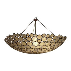 Serena Bowl Chandelier by Oly - This gorgeous ceiling light provides a warm glow through translucent glass circles. The design will definitely draw the eye up without overwhelming a room.