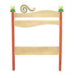 "Little Lizard Headboard - Frogs and snakes crawl on this adorable headboard, made of birch wood finished with natural and bright colored stains. 42""H x 39""W.  Attaches with bolts to standard twin bed frames. 2 frogs and 1 snake finial included."
