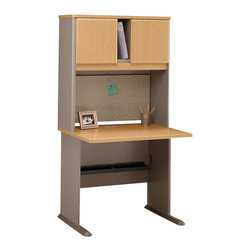 """BBF - Bush Series A 36"""" Wood Computer Desk with Hutch in Light Oak - Bush - Office Sets - WC64336PKG1 - Bush Series A 36"""" Hutch in Light Oak (included quantity: 1)  Bush Business Furniture presents this Series A Collection 36"""" Hutch that sits atop the Bush 36"""" Desk (sold separately). This economical hutch makes a private and efficient haven out of any workspace, giving you both improved storage capacity and peace of mind.  Features:"""