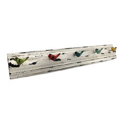 Distressed Metal Multicolor Birds Wall Mounted Coat Rack - This beautiful coat rack looks like it has endured a long service of hanging coats and hats. The years of use have only increased the rack's charming character and it has more vitality than ever. The distressed metal design supports five sturdy colorful bird-shaped hooks on which to hang coats, hats, dog leashes, etc. The rack measures 26 inches long, 4 1/2 inches tall, and 3 1/2 inches deep. Two hanging slot on either end of the reverse side allow the rack to hang solidly from any surface. This piece is a charming home accent with a lively rustic character that demands respect and admiration.