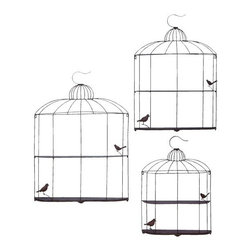 "Benzara - Bird Cage Design Metal Shelf in Metallic Silver Finish - Set of 3 - Bird Cage Design Metal Shelf in Metallic Silver Finish - Set of 3. Finding a metal shelf that would suit all your needs is next to impossible. It is available in 3 size variants - 32""H x 23""W x 4"" D, 38""H x 27""W x 4 1/2"" D, 43""H x 31""W x 4 1/2""D."