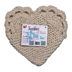 Toockies - Toockies Loving Heart Pot Holder - With its sweet style and eco,friendly materials, there's lots to love about the Toockies Loving Heart Pot Holder. This handwoven pot holder is made from 100 percent certified organic cotton that is kept in its natural light beige color.