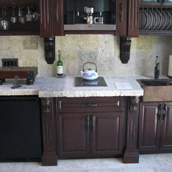 Countertops out of Thick Antique Limestone Slabs - Image provided by 'Ancient Surfaces'