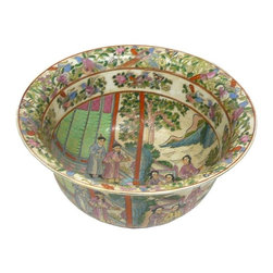 Golden Lotus - Chinese Multi Color People Scenery Porcelain Bowl - This is a hand painted precise detail porcelain bowl with ancient Chinese people gathering scenery inside and outside the surface.