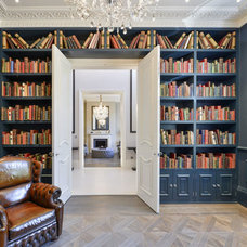 Transitional Home Office by Cheville Parquet