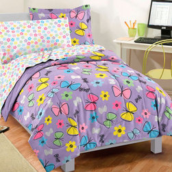None - Sweet Butterfly 7-piece Bed in a Bag with Sheet Set - This colorful seven-piece bed in a bag set provides everything you need to create a more comfortable and stylish bedroom environment. Machine washable for easy care,this set features a playful butterfly pattern perfect for children's rooms.