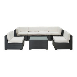 LexMod - Aero 7 Piece Outdoor Patio Sectional Set in Espresso White - Introduce aerodynamic comfort with the Aero Outdoor Sectional Set. Welcome your friends and family to a motivational setting of exceptional appeal. Aero is a versatile seating environment built for patio, backyard or pool areas in need of something dynami