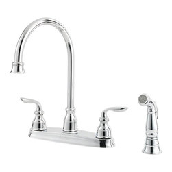 Price Pfister - Pfister Avalon Two Handle Widespread Lead Free Kitchen Faucet With Side Spray - Time honored qualities such as elegance, tradition and symmetry have been gracefully reflected in the Pfister Avalon Two Handle Widespread Lead Free Kitchen Faucet With Side Spray. Smooth and sleek curves reminiscent of a seaside escape, it's no wonder the Avalon is the perfect complement to any home. Comes complete with matching side spray.