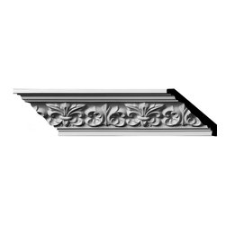 "Ekena Millwork - 3 1/4""H x 3 1/4""P x 4 3/4""F x 96""L, (5 7/8"" Repeat) Fleur De Lis Crown Moulding - 3 1/4""H x 3 1/4""P x 4 3/4""F x 96""L, (5 7/8"" Repeat) Fleur De Lis Crown Moulding. Our beautiful panel moulding and corners add a decorative, historic feel to walls, ceilings and furniture pieces- They are made from a high-density urethane which gives each piece the unique details that mimic that of traditional plasting and wood designs but at a fraction of the weight- This means a simple and easy installation for you- The best part is that you can make your own shapes and sizes by simply cutting the moulding pieces down to size and then butting them up to the decorative corners- These are also commonly used for an inexpensive wainscot look-Features- Modeled after original historical patterns and designs-- Constructed from solid urethane for maximum durability and detail-- Lightweight for quick and easy installation-- Factory-primed and ready for paint or faux finish-- Can be cut, drilled, glued and screwed-- Designed for use on both interior and exterior applications-- Material- Urethane"