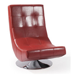 Armen Living - Mario Swivel Chair Red Bonded Leather - This elegant swivel club chair can own the show from center stage or play together harmonically with others as you mix and match in melodic synchronicity. Made with Bonded Leather.