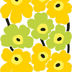 UNIKKO Lime Upholstery Fabric by Marimekko - Designed by Maija Isola 1965, this is perhaps the most popular Marimekko fabric pattern of all time. UNNIKO consists of bold and happy flowers, and it comes in a slew of colorways. Since I have a tablecloth in this palette, this one is my pick.