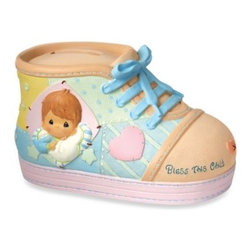 Precious Moments - Precious Moments Precious Little Blessings Baby Boy Shoe Money Bank - A little baby bootie is the perfect place for baby to keep coins. Money may never have had a more adorable home than this precious and decorative bank.