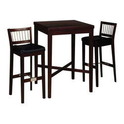 HomeStyles - 3-Pc Pub Table Set - Wood pub tables are always popular and these feature an elegant cherry finish with a rich sheen. Have a delightful evening with someone you love, sipping good wine over engaging conversation that is encouraged by the intimate tones and elegant design of this cherry finished bar table that comes with two to four optional stools. The rich cherry finish and solid classic wood design of this set will lend an old world feel to your kitchen or dining room. Optional stools are an excellent complement and will make your bar setting the perfect gathering place. Use the x-frame as a supportive brace or a footrest for achy feet relief. Includes table and two stools. Contemporary style. Stainless steel stretcher bar. Square shape table. Vinyl upholstered stool seats. Made from solid wood and Asian hardwood. Cherry finish. Made in Thailand. Pub table: 30 in. L x 30 in. W x 42.25 in. H. Stools: 20 in. W x 16 in. D x 41 in. H. Table assembly instructions. Stool assembly instructionsThe stainless steel accents provide a modern look, perfect for entertaining or every day use. Clear coat finish to protect against wear and tear stemming from normal use.