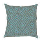 """Surya - Ikat Square Pillow LD-033 - 18"""" x 18"""" - Tied together like the original ikat pattern derived from Indonesia, this ikat embroidered pillow harmoniously ties together both ornate style and rich turquoise and beige coloring. From the Beth Lacefield collection, this piece creates a classic, charming look from room to room. This pillow contains a zipper closure and provides a reliable and affordable solution to updating your home's decor."""