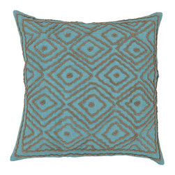 "Surya - Ikat Square Pillow LD-033 - 18"" x 18"" - Tied together like the original ikat pattern derived from Indonesia, this ikat embroidered pillow harmoniously ties together both ornate style and rich turquoise and beige coloring. From the Beth Lacefield collection, this piece creates a classic, charming look from room to room. This pillow contains a zipper closure and provides a reliable and affordable solution to updating your home's decor."