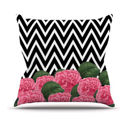 """Kess InHouse - Suzanne Carter """"Camellia"""" Chevron Flower Throw Pillow (Outdoor, 18"""" x 18"""") - Decorate your backyard, patio or even take it on a picnic with the Kess Inhouse outdoor throw pillow! Complete your backyard by adding unique artwork, patterns, illustrations and colors! Be the envy of your neighbors and friends with this long lasting outdoor artistic and innovative pillow. These pillows are printed on both sides for added pizzazz!"""