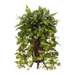 """Nearly Natural - Nearly Natural Vining Mixed Greens with Decorative Stand Silk Plant - If you want a fantastic looking """"overflow"""" of beautiful foliage, then this wonderful foliage Mix will be the Perfect match. An absolute marvel of layered leaves in every imaginable texture, this plant is a snap to keep looking its best (no real upkeep needed, save for finding that Perfect spot), and its sharp looking stand only further compliments this piece."""
