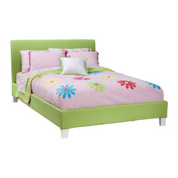 Standard Furniture - Standard Furniture Fantasia Upholstered Platform Bed in Green - Upholstered Platform Bed in Green belongs to Fantasia Collection by Standard Furniture Luxurious padded beds are upholstered in a smooth vinyl that comes in a choice of three colors, green, lavender and pink. Sizeable headboard allows space for decorative pillows. Green, lavender and pink finishes.  Upholstered Headboard (1), Upholstered Footboard w/ Rails (1)