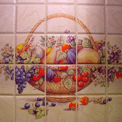 """Kitchen Back Splash - Total kitchen remodel completed by Donnie and Janice Cooper. The Coopers selected their 4"""" x 4"""" stone tile from Home Depot. I kiln fired their choices of fruit patterns on the individual tiles. Thank you Donnie and Janice. You did a fabulous job on your kitchen and I hope you love it."""