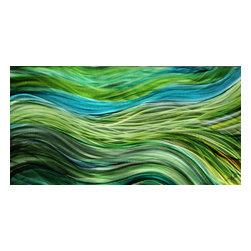 Jon Allen - Modern Green & Blue Painting On Metal - Dream Stream by Jon Allen - Modern Green & Blue painting on metal - Dream Stream by Jon Allen