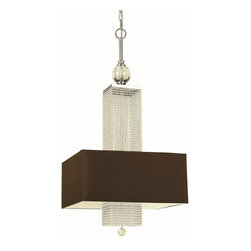 Candice Olson - Candice Olson Casby Modern / Contemporary Pendant Light X-H3-8097 - Experience the elegance, panache, gentle shimmer, and wicked cool appeal of this contemporary wall pendant. The chocolate poly silk hard-black shade gets people excited and it provides clean and bright light for your living room, kitchen, den, dining room, or lounge. The nickel finish gleams with premium durability and outstanding quality so you can always enjoy the artful geometry.