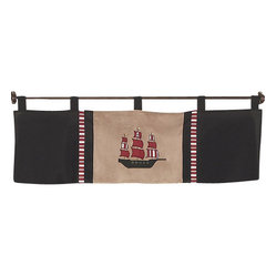 Sweet Jojo Designs - Pirate Treasure Cove Window Valance - The Pirate Treasure Cove window valance will help complete the look of your Sweet Jojo Designs room. This valance softens the look of the window and obscures pulled up blinds. It will coordinate nicely with your Sweet Jojo Designs bedding or can be used as an accent with your own room design. Dimensions: 54in. x 15in.