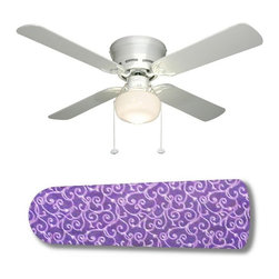 "Purple Passion White Swirls 42"" Ceiling Fan and Lamp - 42-inch 4-blade ceiling fan with a dome lamp kit that comes with custom blades. It has a white flushmount fan base. It has an energy efficient 3-speed reversible airflow motor for year long comfort. It comes with complete installation/assembly instructions. The blades can be cleaned with a damp cloth. It is made with eco-friendly/non-toxic products. This is brand new and shipped in the original box. This is not a licensed product, but is made with fully licensed products. Note: Fan comes with custom blades only."